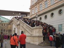 Visitors queueing at the Albertina Gallery in Vienna Royalty Free Stock Photography