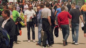 Visitors of 83rd Traditional Agricultural fair in Novi Sad, Serbia stock video