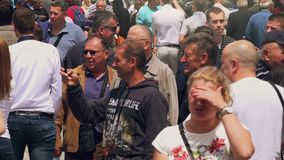 Visitors of 83rd Traditional Agricultural fair in Novi Sad, Serbia stock video footage