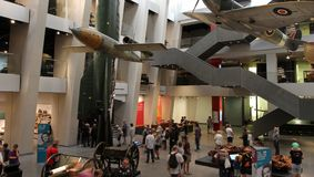 Visitors in refurbished Imperial War Museum Stock Images