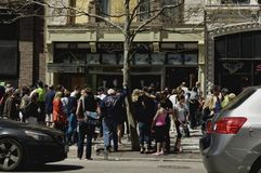 Visitors return to Marathon Place. Boston, Massachusetts USA - April 28, 2013 - Crowds gather at Marathon Place, site of one of two Marathon bombings. The Stock Images
