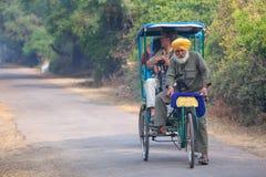 Visitors riding cycle rickshaw in Keoladeo Ghana National Park i Royalty Free Stock Photography