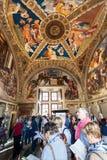 Visitors in Room of Heliodorus in Vatican Royalty Free Stock Photo