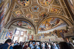 Visitors in Room of the Signatura in Vatican Royalty Free Stock Photos