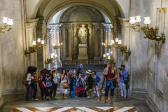 Visitors in the Royal Palace, Madrid royalty free stock photo