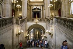 Visitors in the Royal Palace, Madrid royalty free stock photography