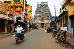 Visitors rush to hindu Temple Royalty Free Stock Image