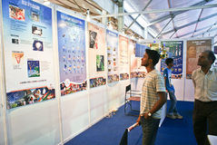 Visitors at the science exhibition. People thronging displays during science exhibition in 99th Indian Science Congress conducted between 3rd to 7th Jan,2011, in Royalty Free Stock Image