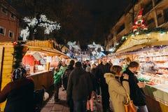 Visitors Shopping Happy Admiring Christmas Market Royalty Free Stock Photo