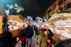 Visitors shopping happy admiring  Christmas Market Stock Image