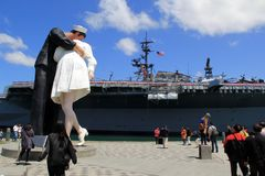Visitors standing around famous sculpture, Unconditional Surrender, San Diego, CA, 2016 Stock Image