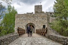 Visitors in Strecno castle, Slovakia. STRECNO, SLOVAKIA - MAY 1: Visitors in front of  castle Strecno on May 1, 2019 in Strecno royalty free stock images
