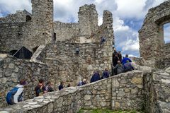 Visitors in Strecno castle, Slovakia. STRECNO, SLOVAKIA - MAY 1: Visitors inside castle Strecno on May 1, 2019 in Strecno stock images