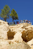 Visitors at the Sunrise Point at Bryce Canyon National Park in Utah Royalty Free Stock Image