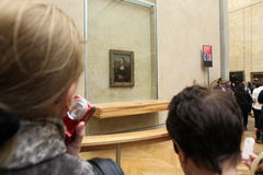 Visitors take photo of Leonardo DaVinci's Royalty Free Stock Image