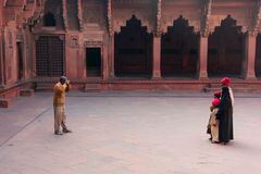 Visitors taking pictures in Jahangiri Mahal in Agra Fort, Uttar Stock Images