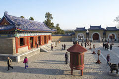 Visitors in temple architecture Beijing Royalty Free Stock Images