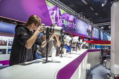Visitors test huge tele lenses Stock Image
