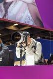 Visitors test huge tele lenses Royalty Free Stock Photos