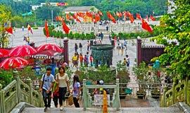 Visitors at tian tan buddha steps Royalty Free Stock Photography