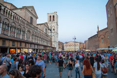Visitors to Buskers Festival 2015 in Ferrara Stock Photo