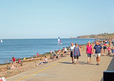 Visitors To Herne Bay Beach Royalty Free Stock Photos