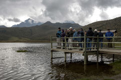Visitors to Laguna de Limpiopungo in Ecuador stand on a jetty overlooking the lake. Stock Images