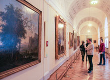 Visitors to the paintings. A visit to the Hermitage as part of a cultural forum in St. Petersburg Royalty Free Stock Image
