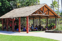 Visitors to the Polynesian Cultural Center engaging in traditional Maori songs and games Stock Image