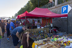 Visitors to the popular Naplavka street food festival in Prague Royalty Free Stock Photography