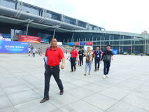 Visitors to the Shenzhen Convention and Exhibition Center Plaza Stock Photography