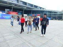Visitors to the Shenzhen Convention and Exhibition Center Plaza Stock Photo