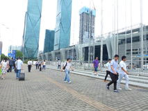 Visitors to the Shenzhen Convention and Exhibition Center Plaza Royalty Free Stock Photos