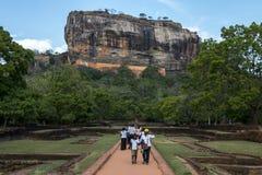Visitors to Sigiriya Rock in Sri Lanka. Stock Image