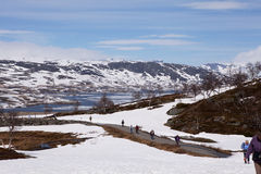 Visitors to the Sysen Dam and Reservoir, Norway Stock Images