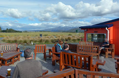 Visitors in Tongariro National Park village Royalty Free Stock Images