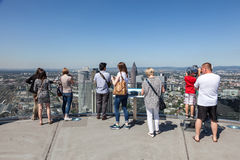 Visitors at the top of Main Tower in Frankfurt Stock Image