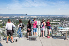 Visitors at the top of Main Tower in Frankfurt Royalty Free Stock Image