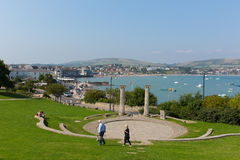 Visitors and tourists Prince Albert Gardens with amphitheatre and park Swanage Dorset England UK Royalty Free Stock Photography