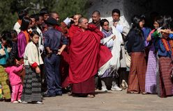 Visitors at Trongsa Dzong Stock Image