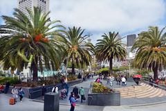 Visitors in Union Square in San Francisco, CA Stock Photography