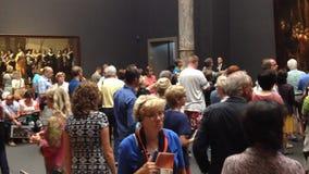 Visitors at van gogh museum - amsterdam stock footage