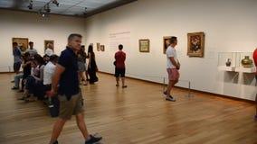 Visitors at van gogh museum - amsterdam stock video