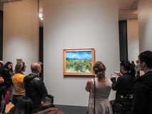 Visitors and Van Gogh painting royalty free stock photo
