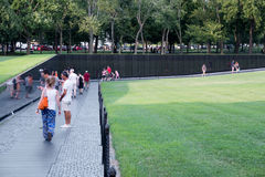 Visitors at the Vietnam Veterans Memorial in Washington D.C. Royalty Free Stock Images