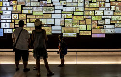 Visitors view a video installation at National Archeological  Mu Royalty Free Stock Photography