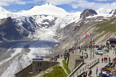 Visitors at viewing platform Grossglockner Restaurant Stock Images