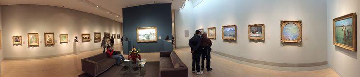 Visitors visit Museum of art in modern city Dallas Royalty Free Stock Photography