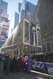 Visitors waiting in line to enter Vince Lombardi Trophy Pavilion on Broadway during Super Bowl XLVIII week in Manhattan Royalty Free Stock Photography
