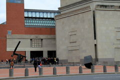 Visitors waiting to enter the emotional tribute about WWII,inside the United States Holocaust Memorial Museum, Washington,DC,2015. Lines of people gathering to stock images